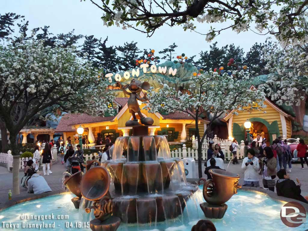 Toontown cherry blossoms & Mickey Fountain #TokyoDisneyland