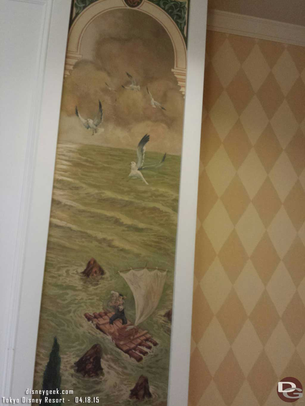 Pinocchio artwork in a guest room hallway at the #TokyoDisneySea Hotel MiraCosta