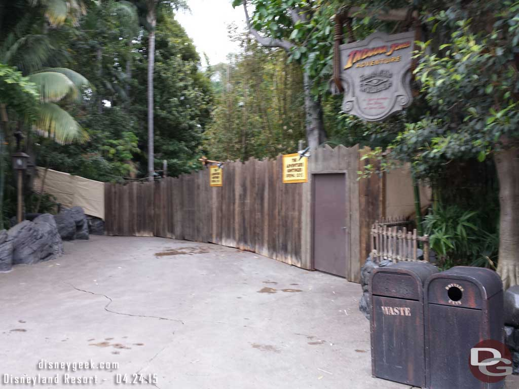 Indiana Jones Adventure is closed for renovation #Disneyland