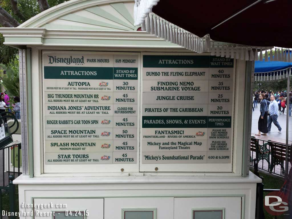 A check of #Disneyland waits as of 5:36pm
