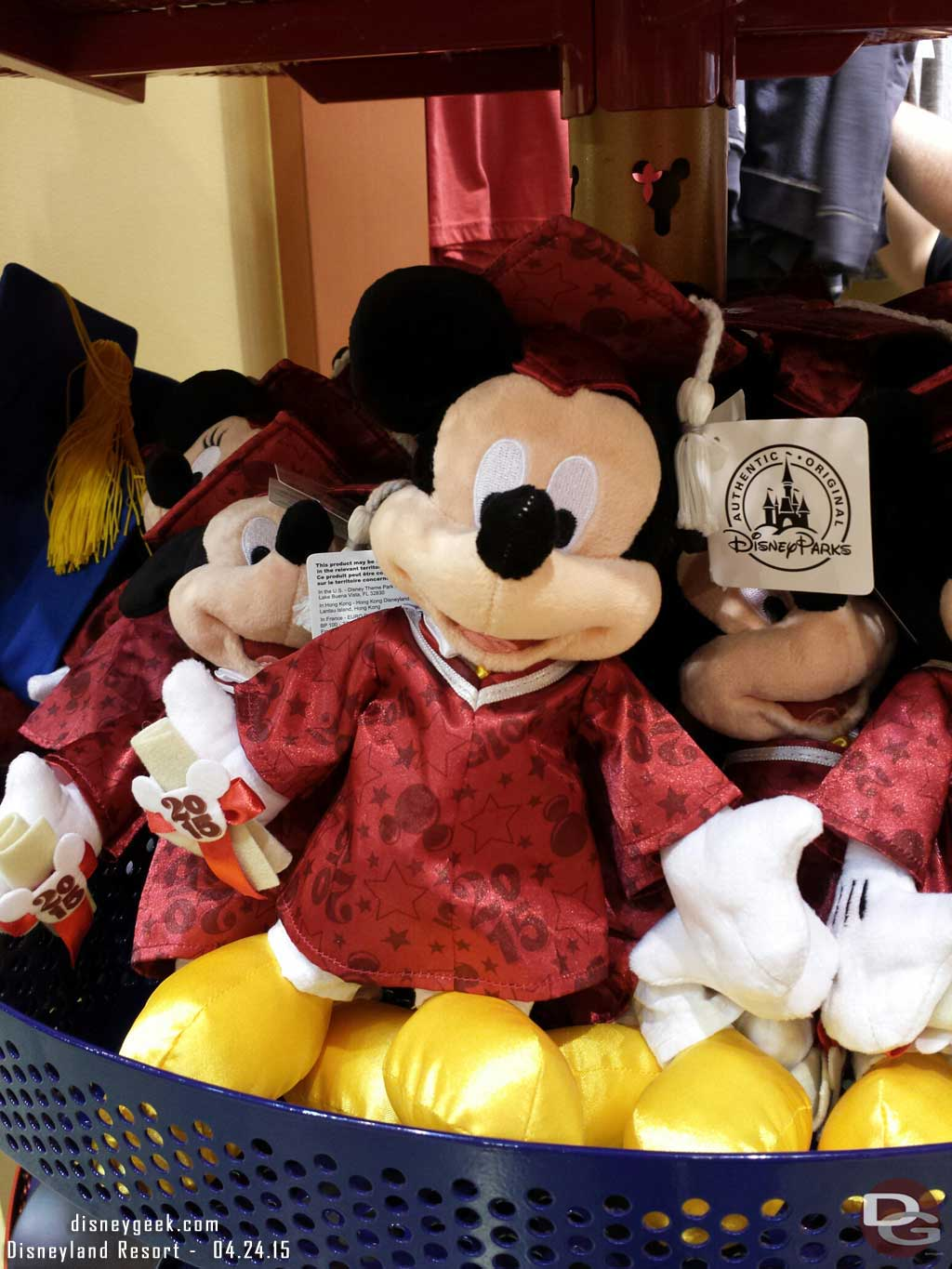 Graduate Mickey class of 2015 is wearing red this year, the caps for sale are still blue #Disneyland