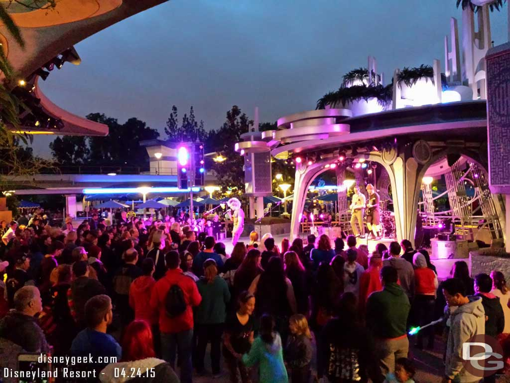The 80z All Stars performing to a full dance floor at Tomorrowland Terrace #Disneyland