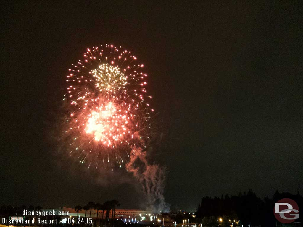 Closing out the night with Fantasy in the Sky fireworks from the parking structure #Disneyland