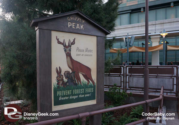 """Prevent Forest Fires"" signage at Grizzly Peak in DCA"