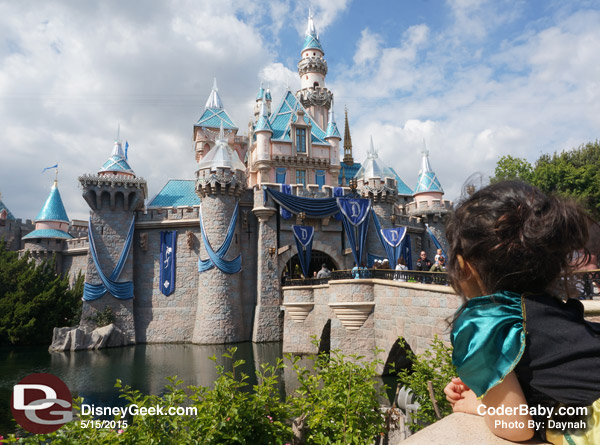 Sleeping Beauty's Castle at Disneyland is all ready for the Disneyland 60 Diamond  Celebration.