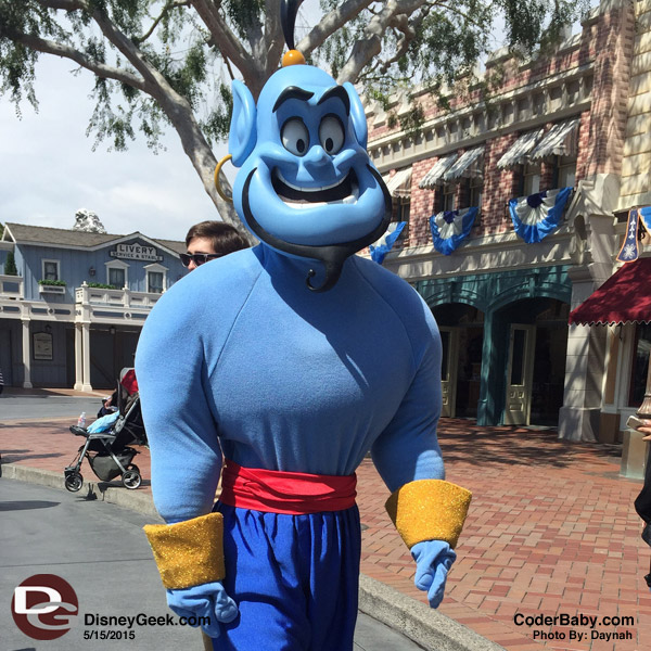 Aladdin's Genie was walking around Main Street at Disneyland