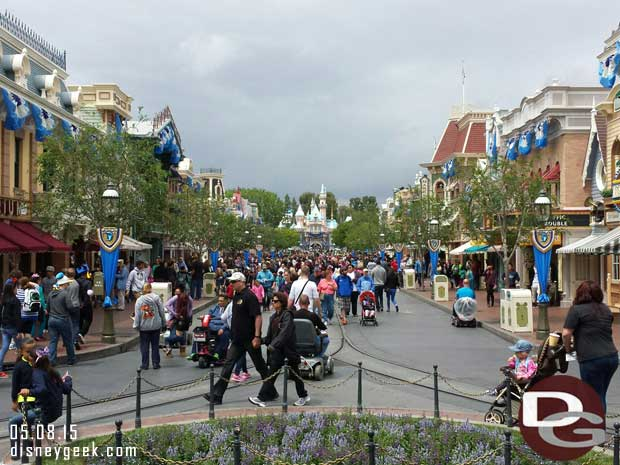 Main Street USA with #Disneyland60 banners this cloudy afternoon