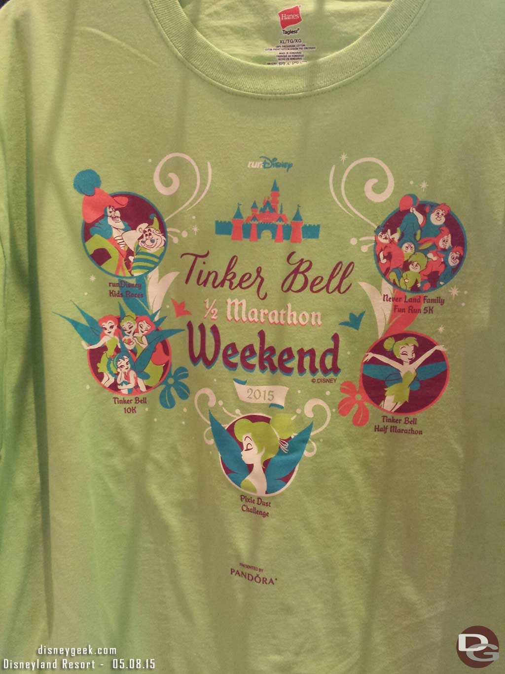 A shirt featuring all the weekend's races #TinkHalfMarathon