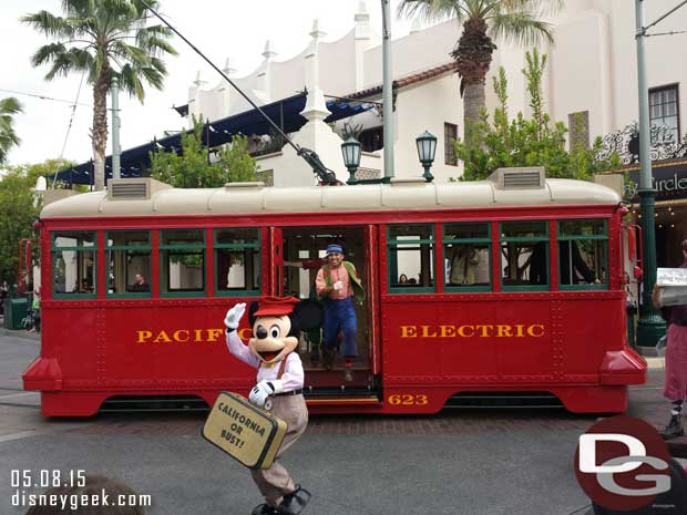 Suitcase and a Dream – Mickey Mouse with the Red Car Trolley News Boys #BuenaVistaStreet
