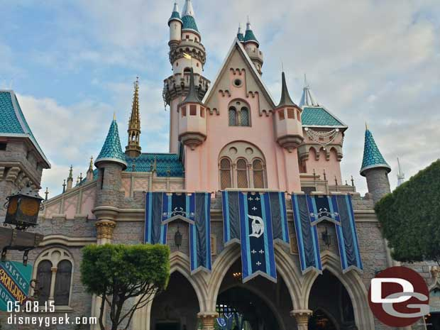 Sleeping Beauty Castle #Disneyland60 banners on the Fantasyland side