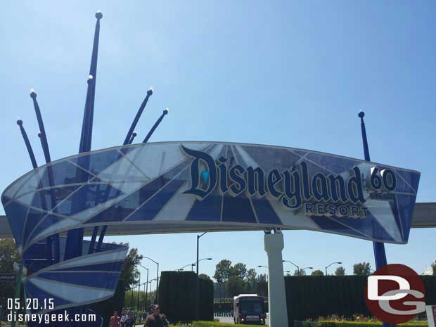 Arriving for #Disneyland60 the entrance on Harbor has a 60th logo