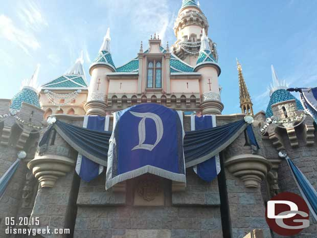 The final logo on Sleeping Beauty Castle is waiting to be unveiled #Disneyland60