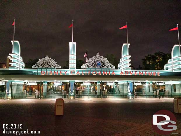 Disney California Adventure entrance with #Disneyland60 decorations this evening