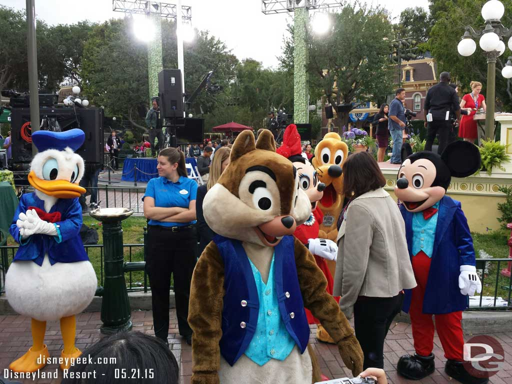 The characters were out for the TV taping in their #Disneyland60 attire