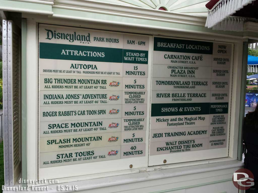 #Disneyland waits as of 9:23am
