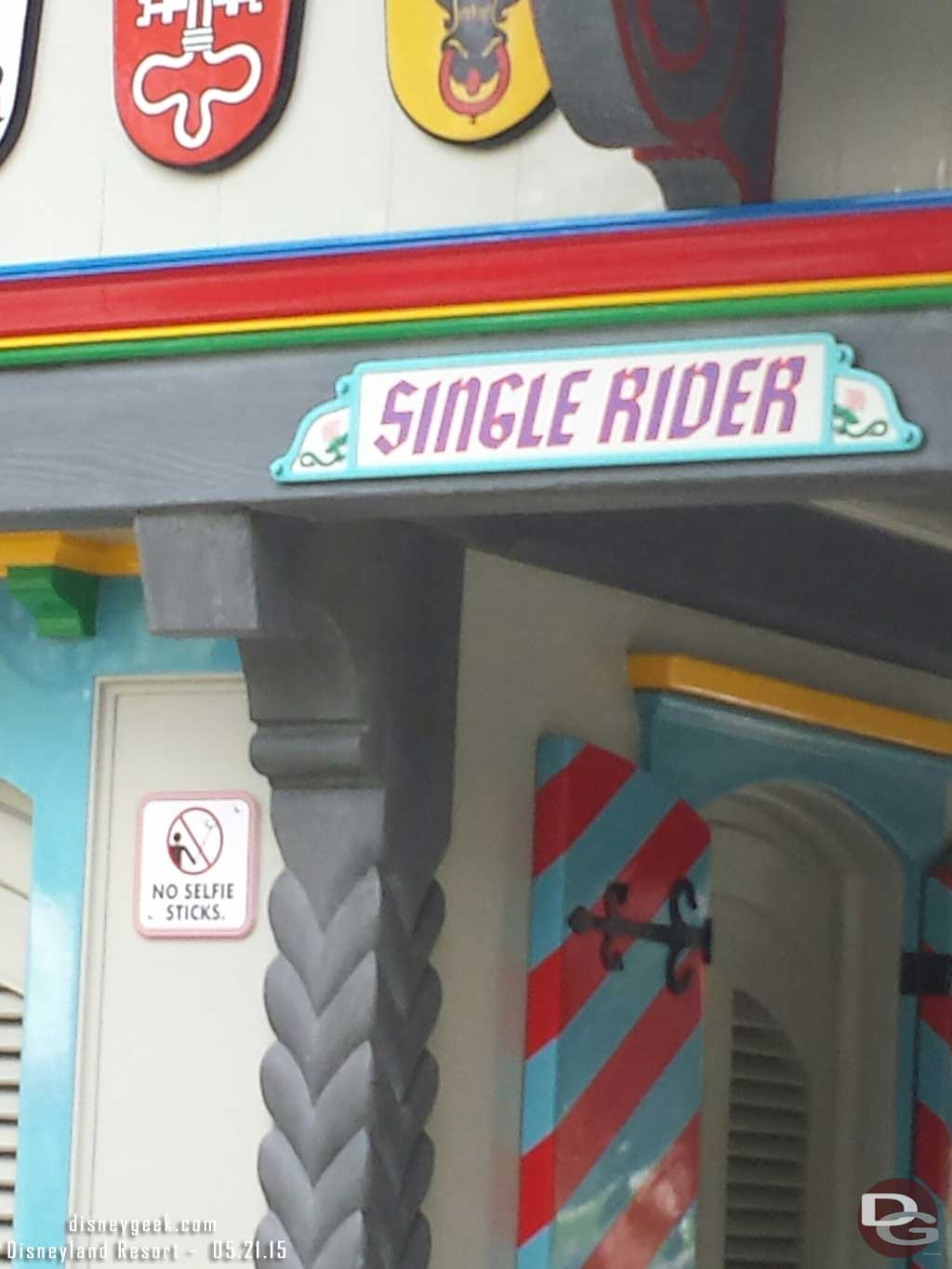 No selfie stick signs are being installed around #Disneyland this one at the Matterhorn