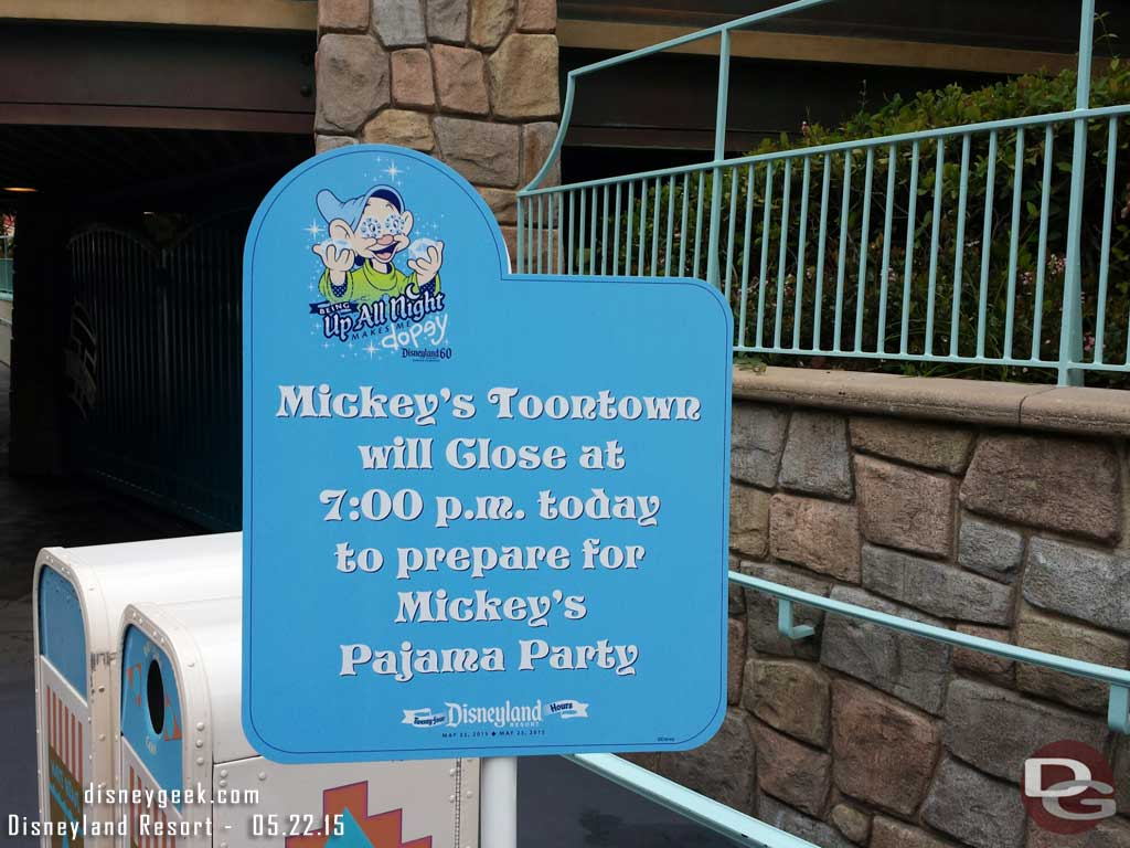Toontown will be hosting at Pajama Party this evening #Disneyland60