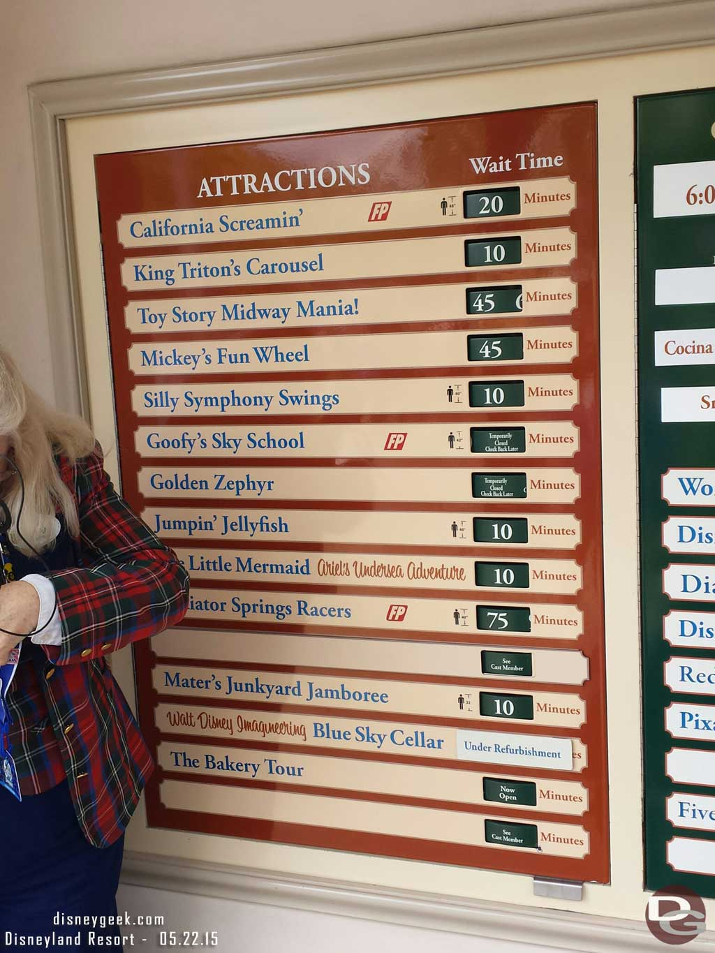 Some Disney California Adventure waits as of 1:13pm