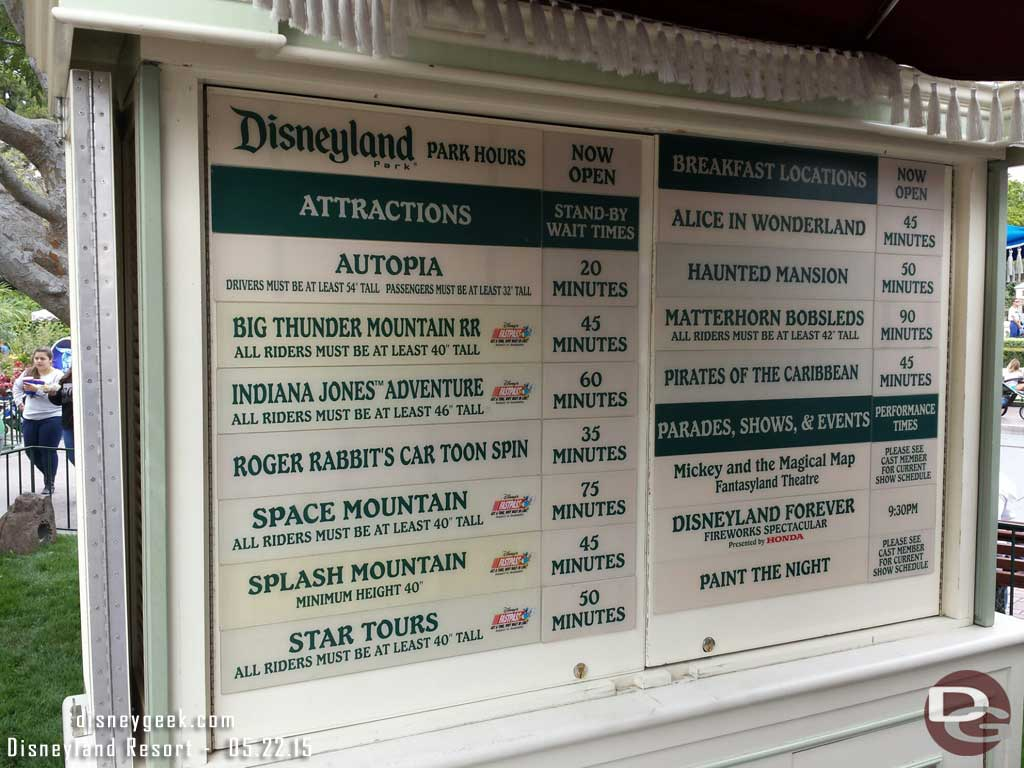 #Disneyland waits as of 1:43pm