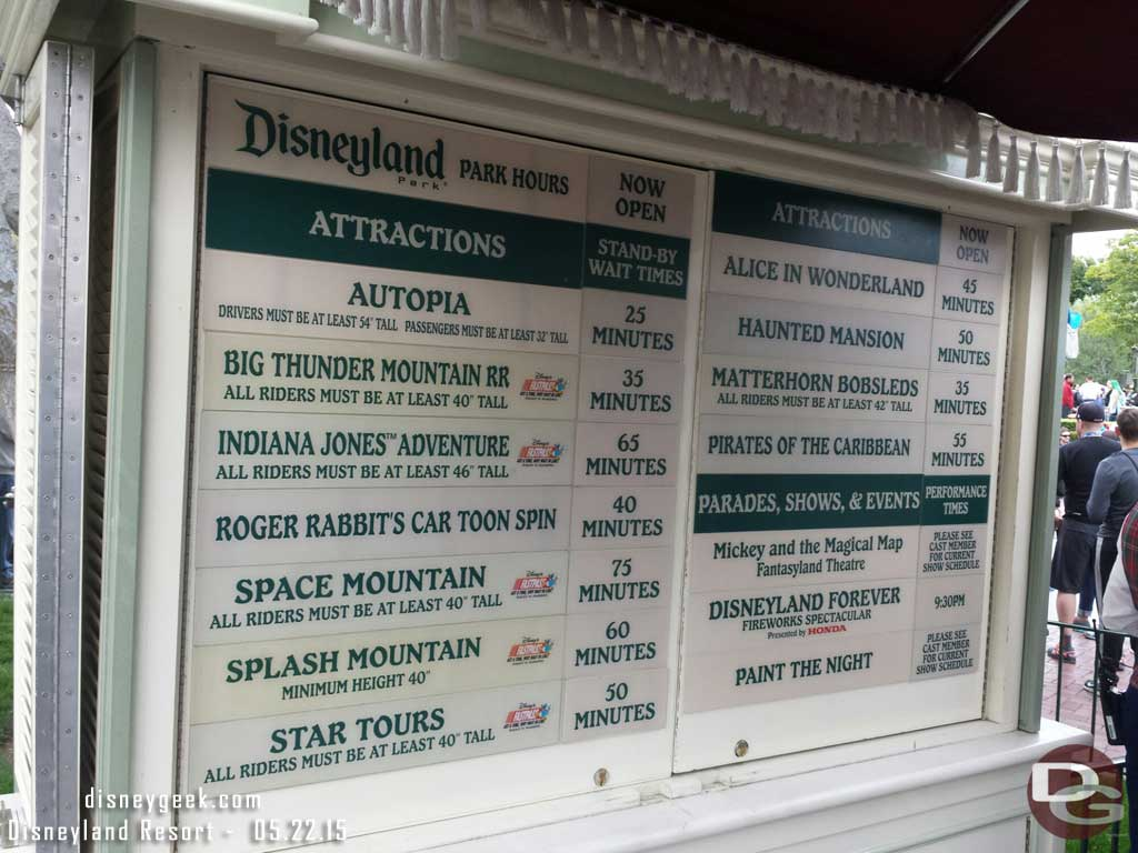 #Disneyland waits as of 5:40pm #Disney24