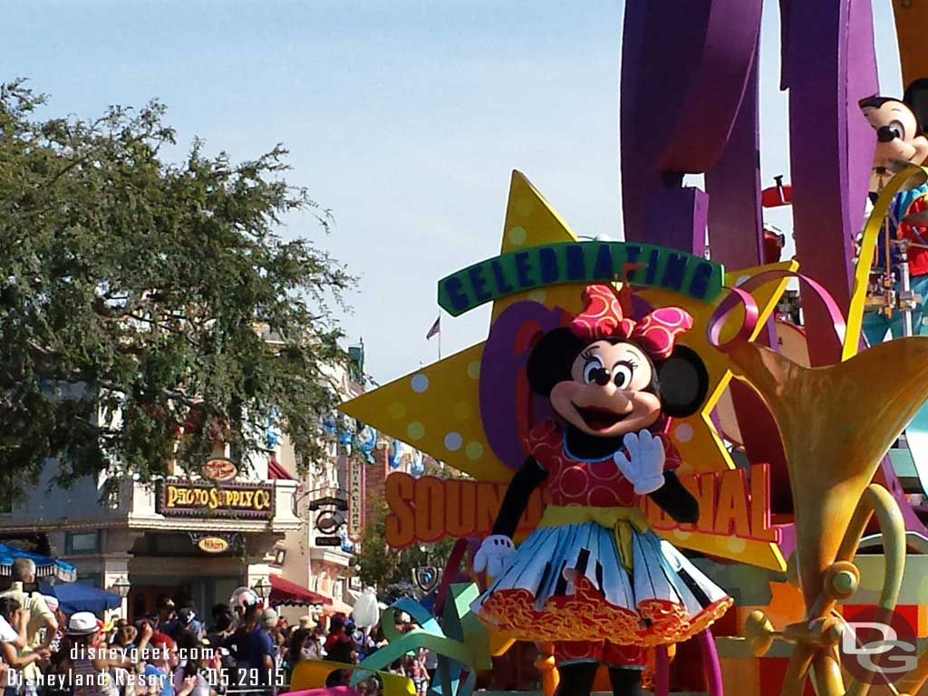 Soundsational opening float features some #Disneyland60 graphics