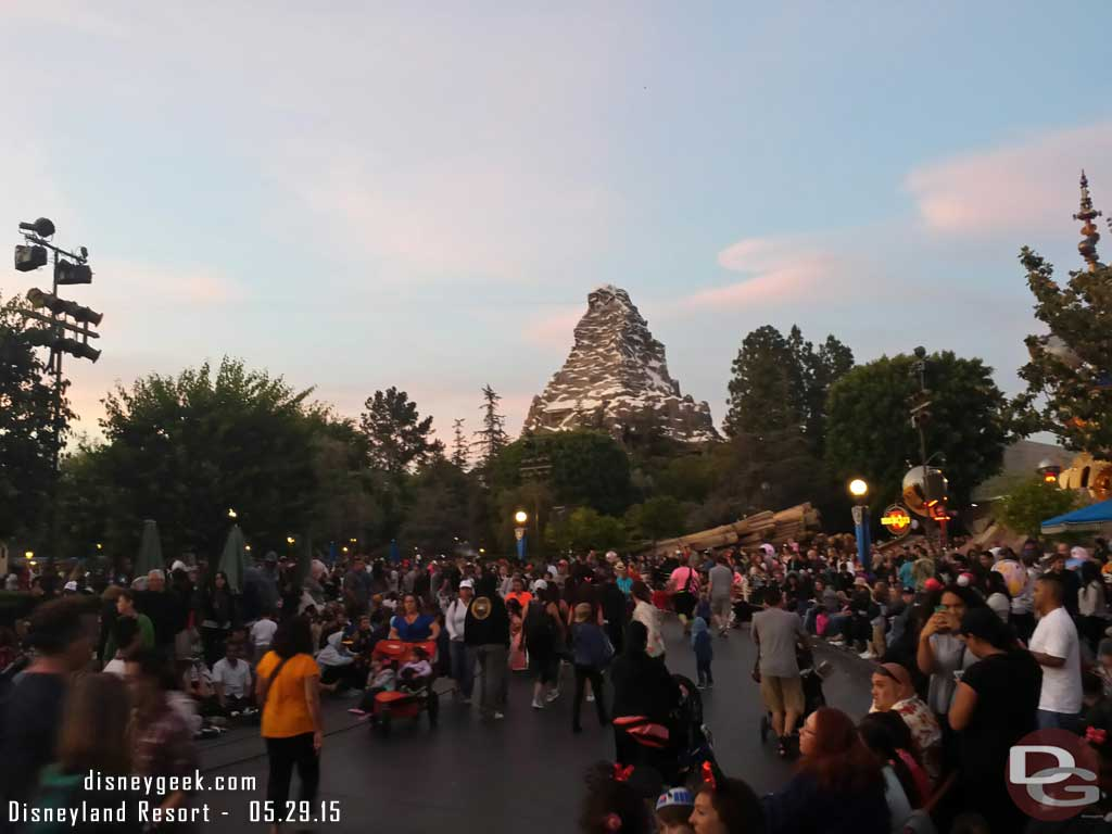 The crowd in the hub with Matterhorn in the background #Disneyland