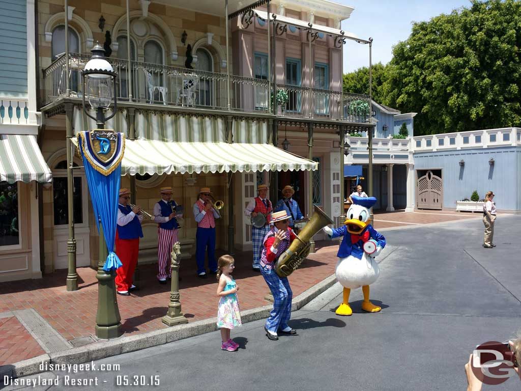 Donald with the Straw Hatters on Main Street USA #Disneyland