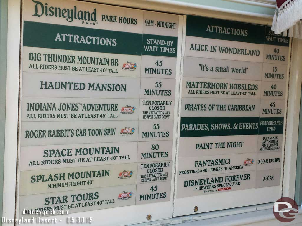 #Disneyland waits as of 5:57pm