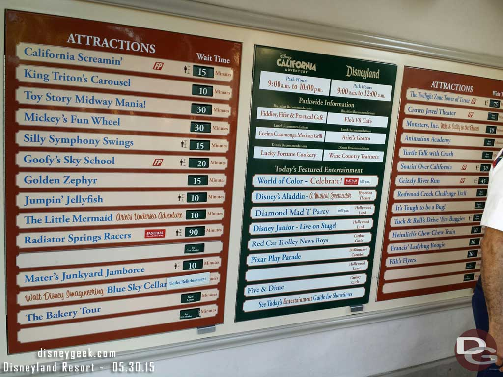 Disney California Adventure waits as of 6:15pm