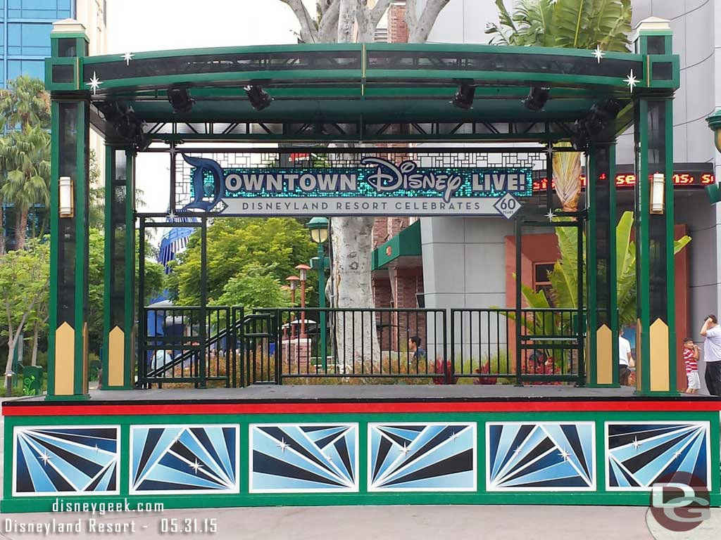 Downtown Disney stage has #Disneyland60 signage