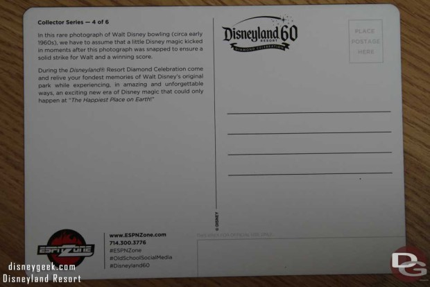 ESPN Zone Disneyland 60 Commemorative Postcard