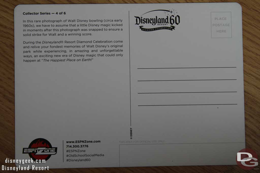 ESPN Zone – Disneyland 60th Anniversary Commemorative Postcards
