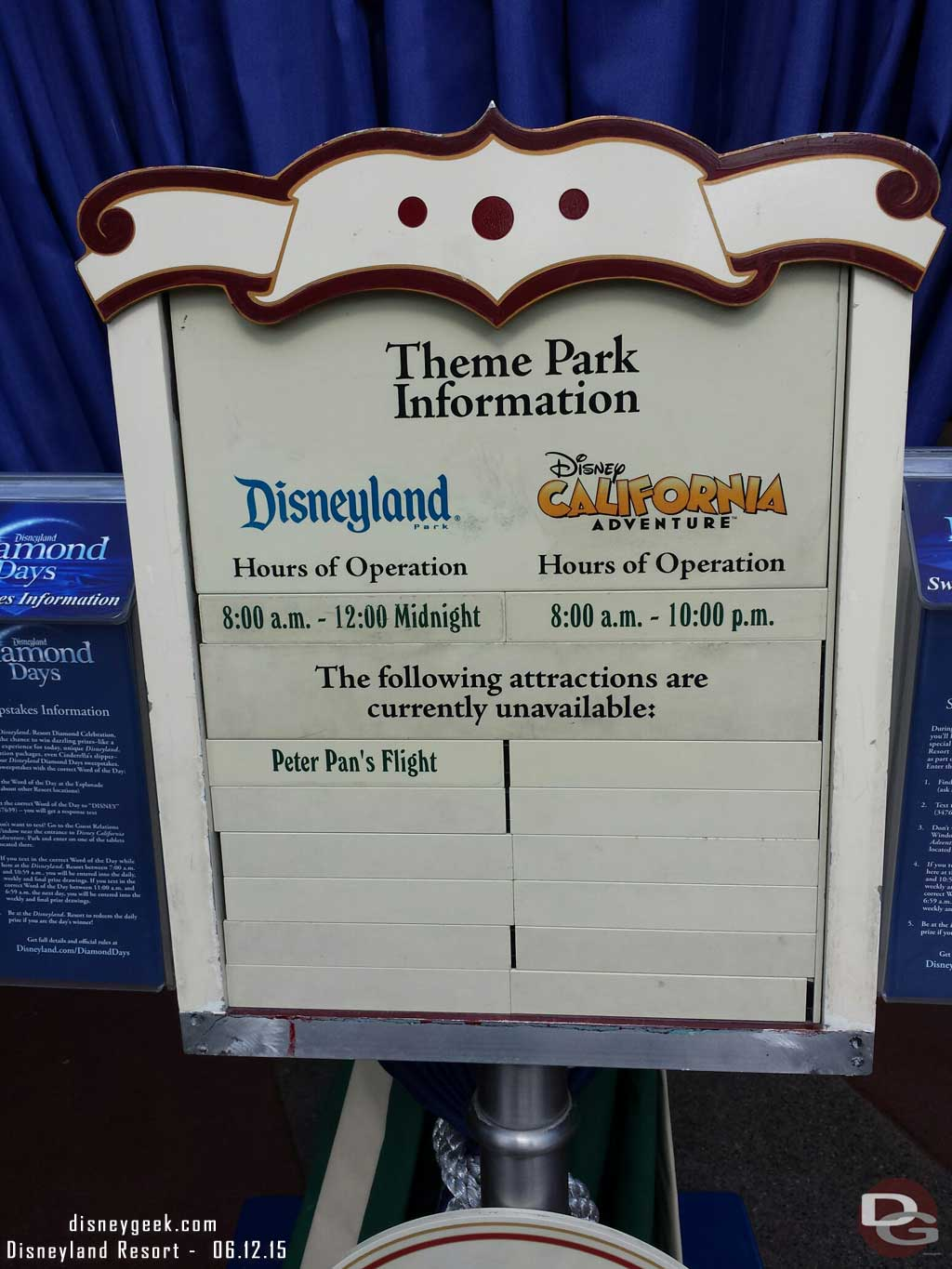 Closed attractions list for today, only Peter Pan #Disneyland