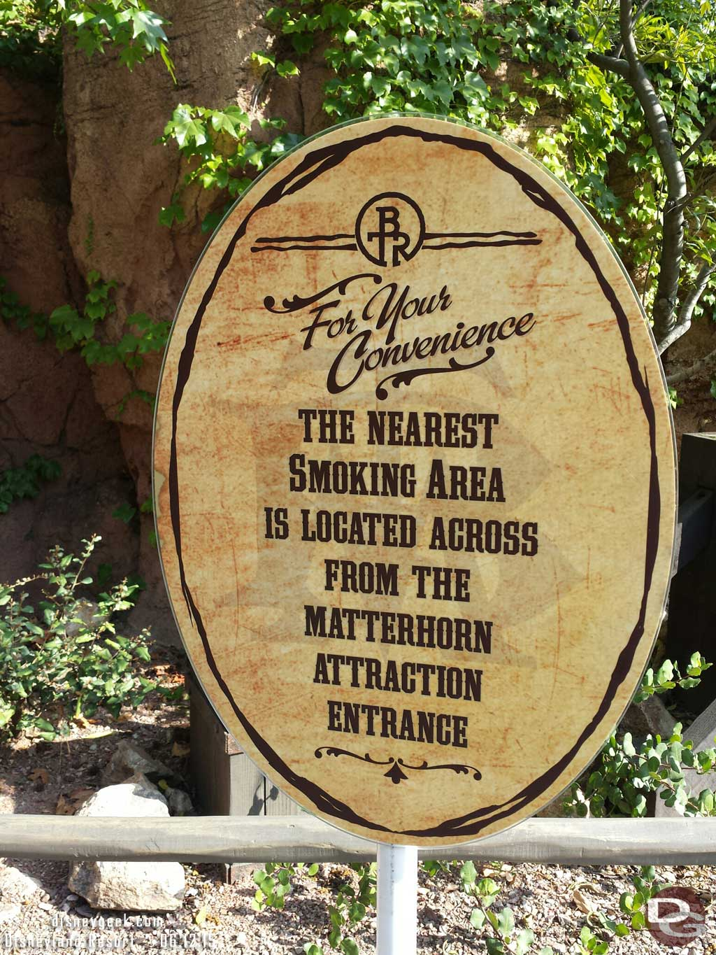 The smoking area on the Big Thunder trail ia closed and they direct you to Fantasyland