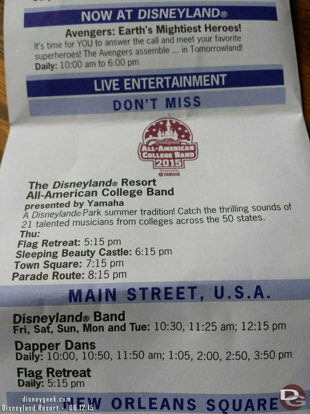 The #Disneyland All American College Band starts next week here are some set times
