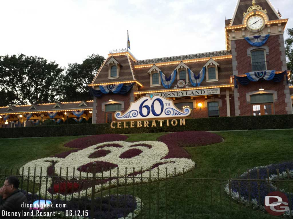 #Disneyland60 entrance floral Mickey & sign