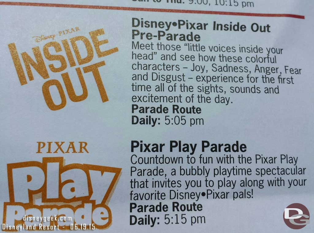 #InsideOut pre-parade starts today @5:05pm at Disney California Adventure