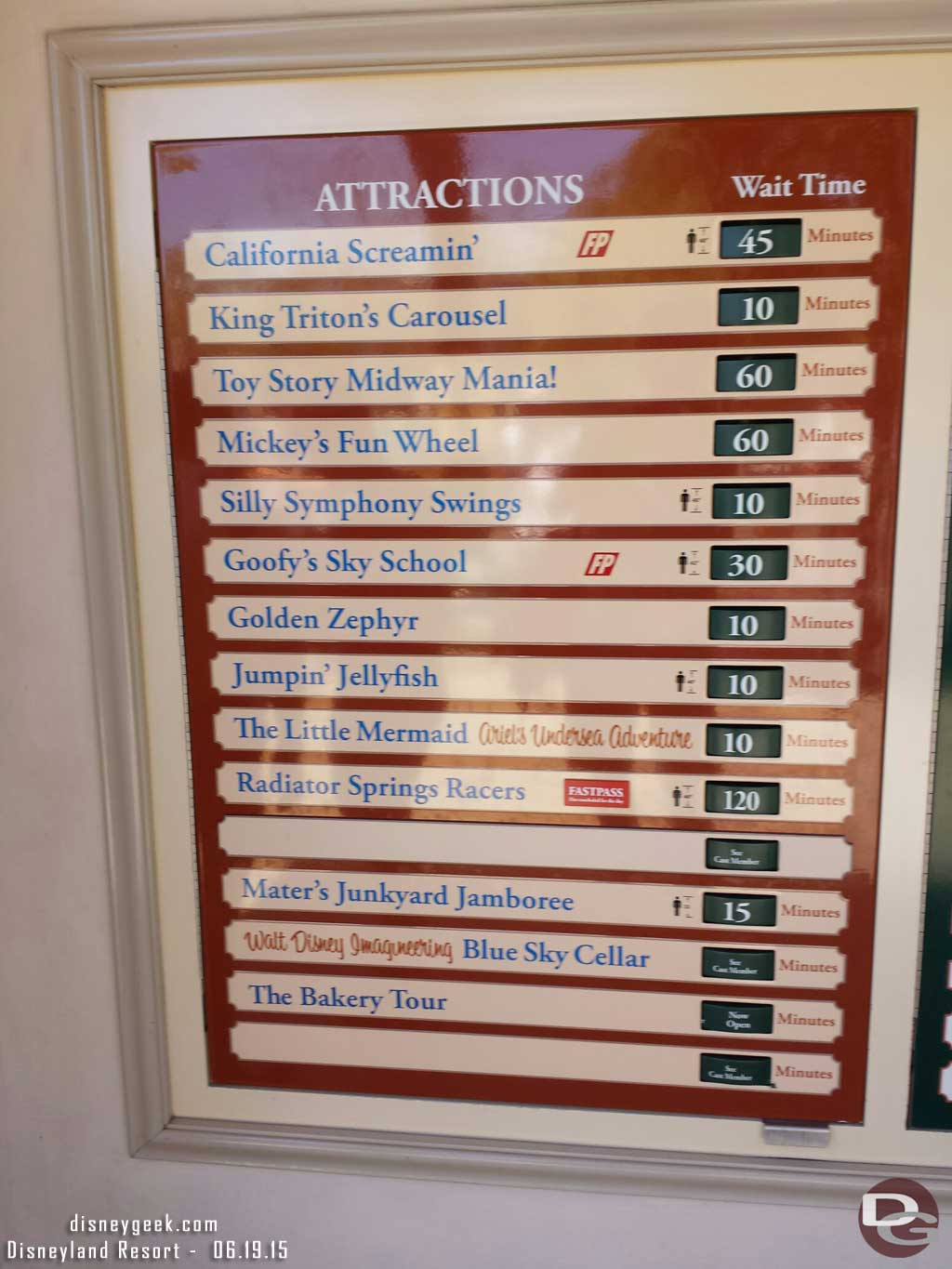 Disney California Adventure waits as of 1:30pm