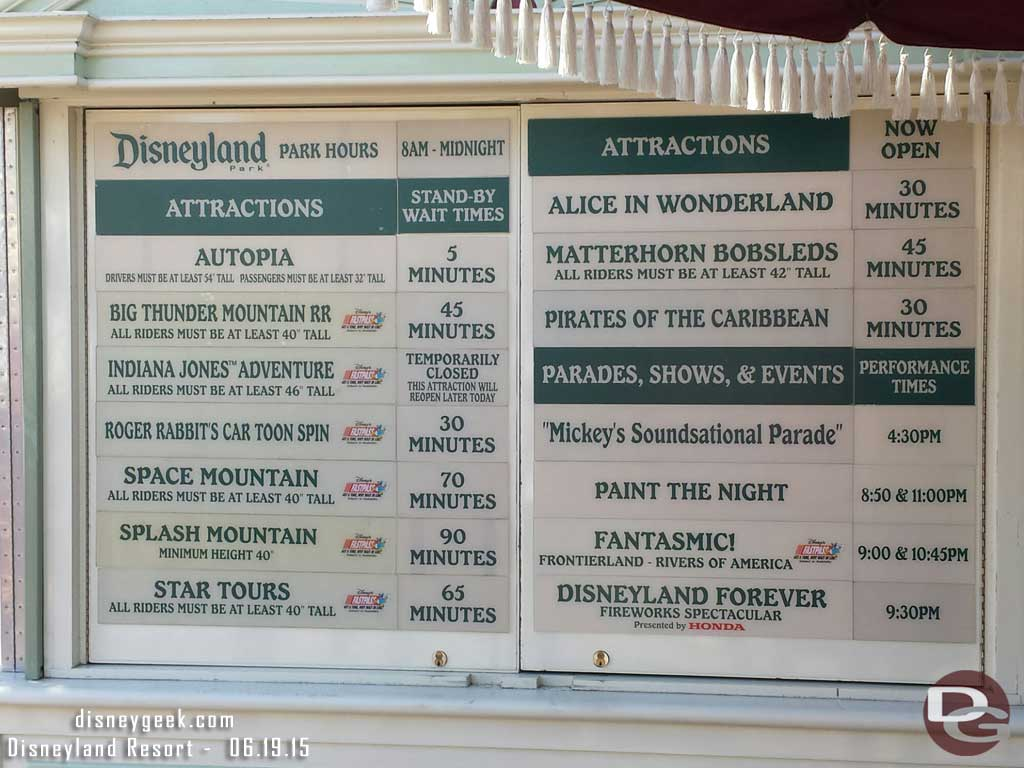 #Disneyland waits as of 3:35pm