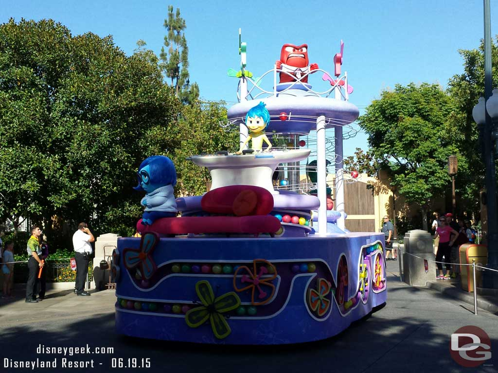#InsideOut pre parade beginning its trip up the parade route at Disney California Adventure
