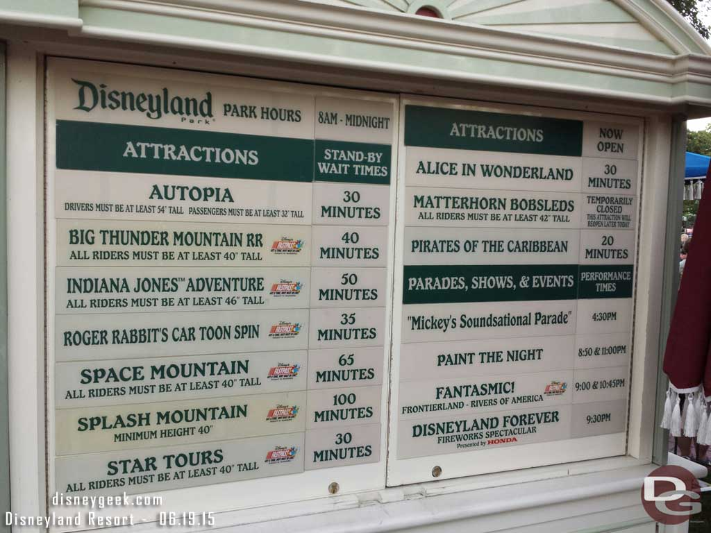 #Disneyland waits as of 7:50pm Splash Mtn is triple digits