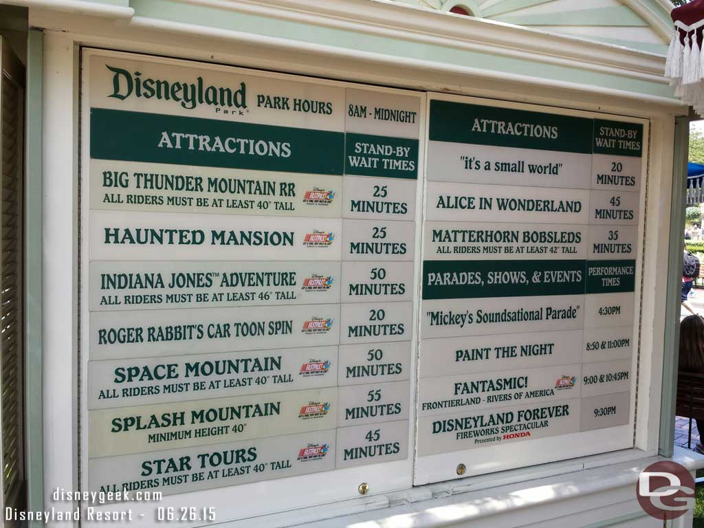 #Disneyland waits as of 1:25pm