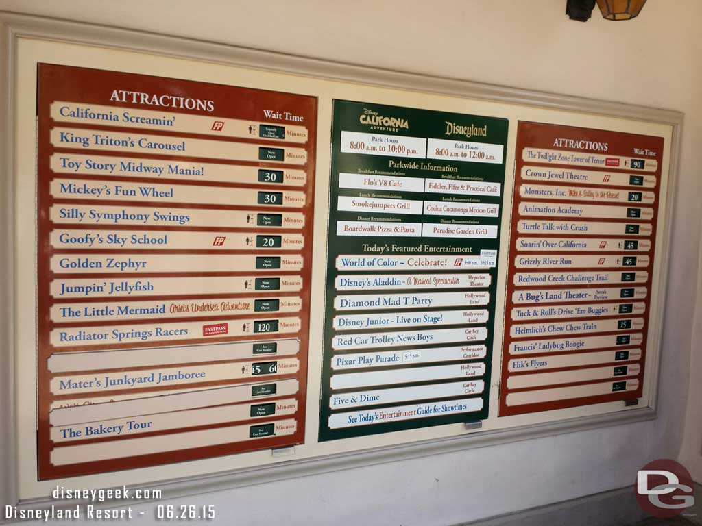 Disney California Adventure waits as of 2:33pm