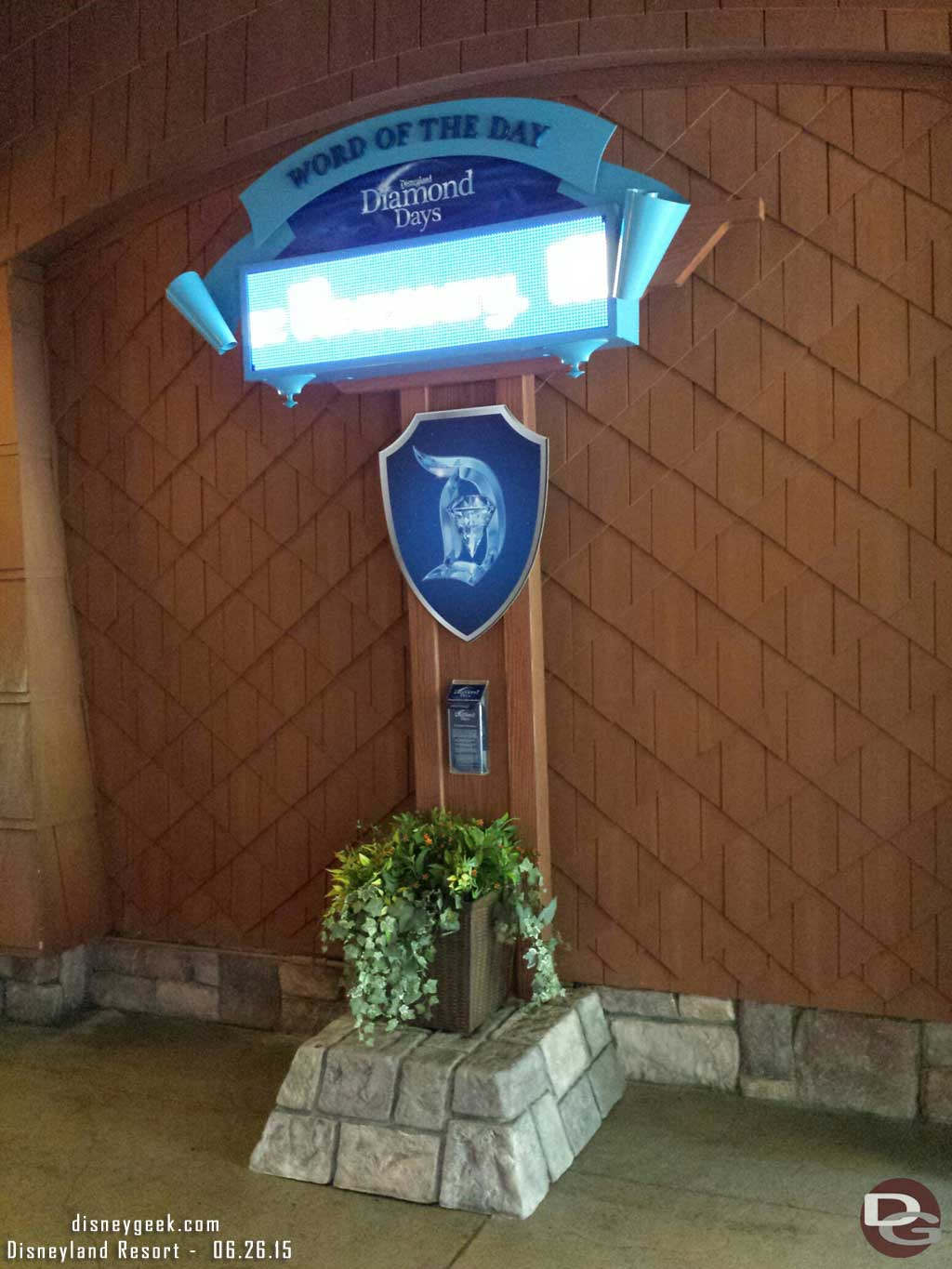 The word of the day sign at the Grand Californian is digital #Disneyland60