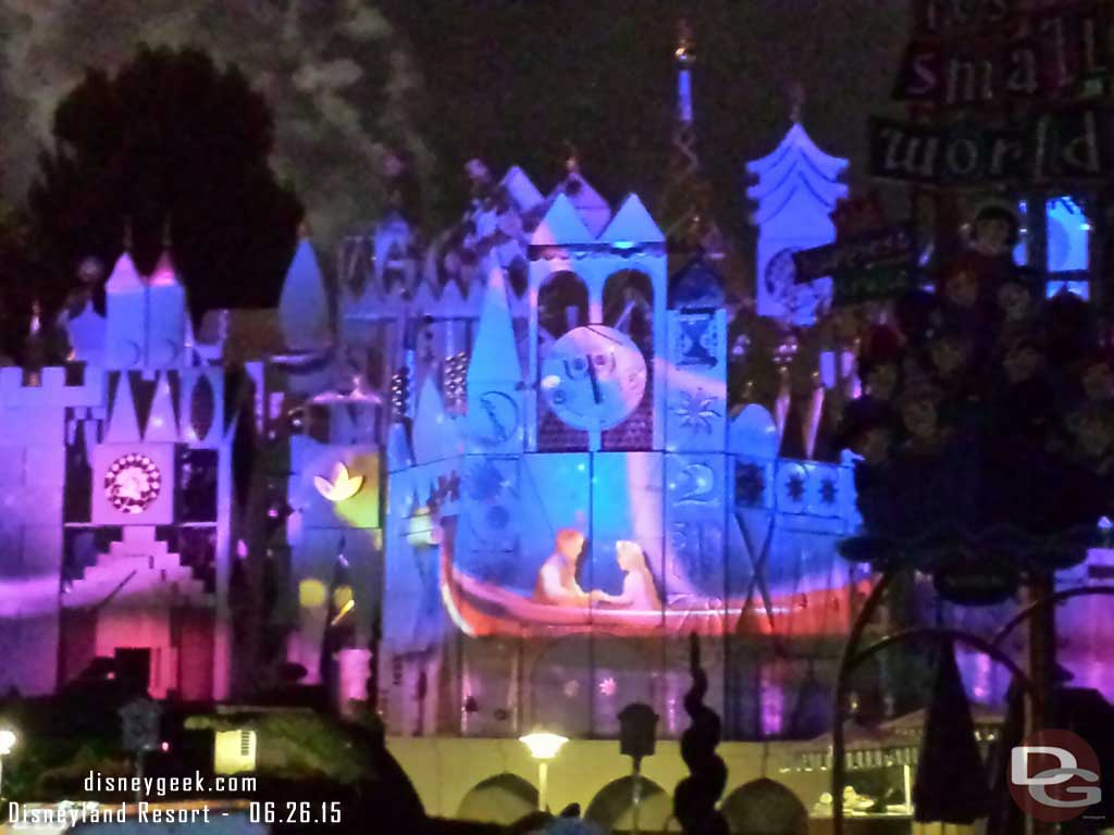 #DisneylandForever – Tangled projection on  it's a Small World