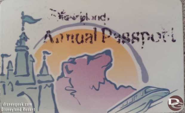 Disneyland Annual Pass 2000-03