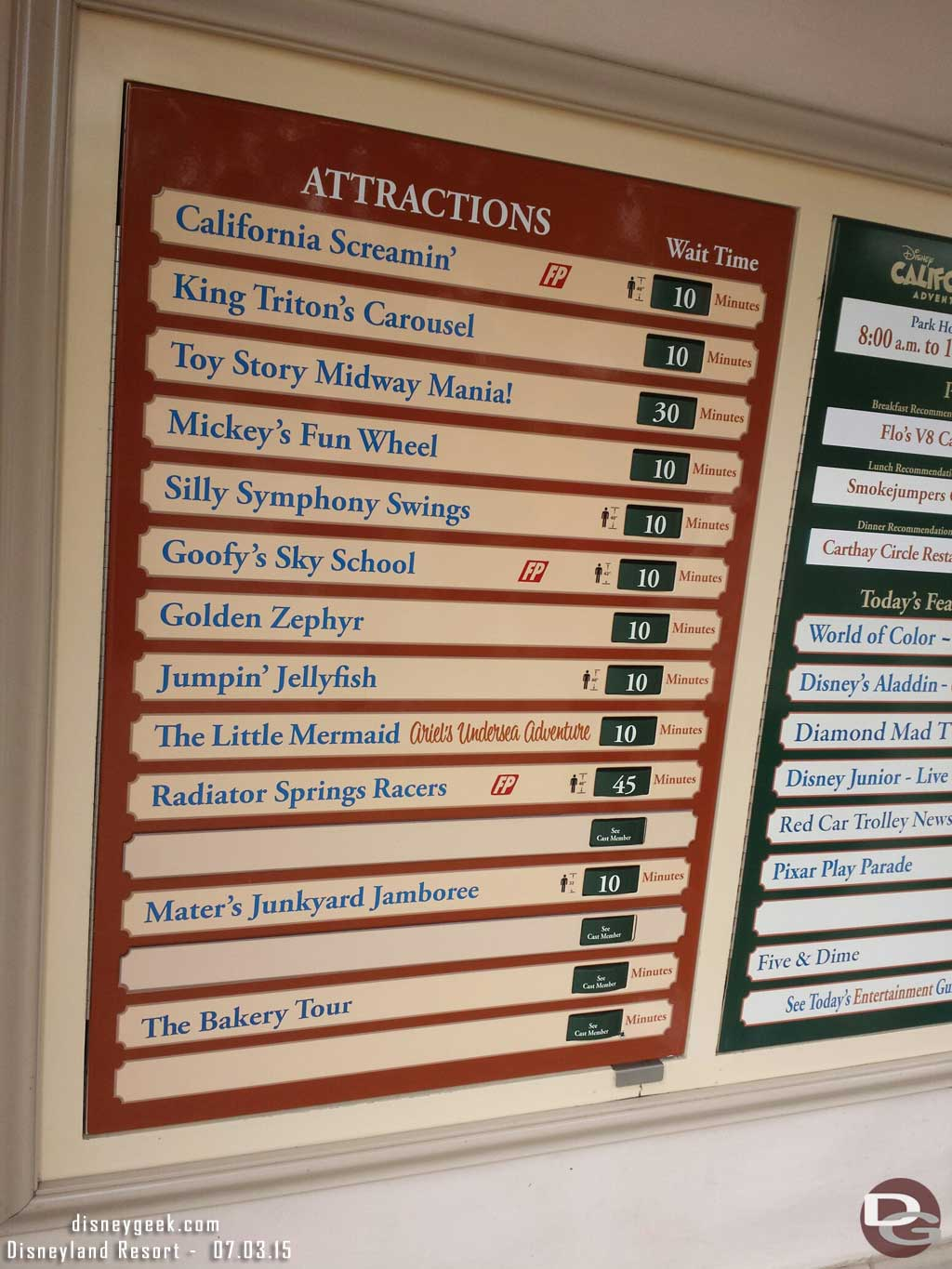A check of Disney California Adventure waits as of 9:35am