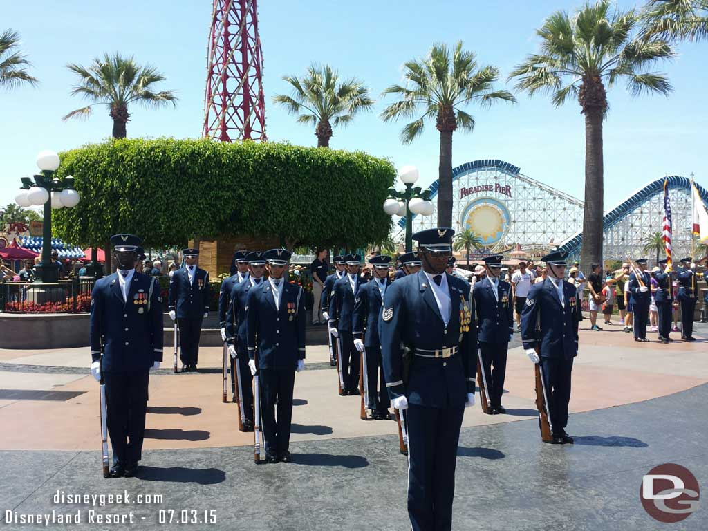 United States Air Force Honor Guard performing in Disney California Adventure