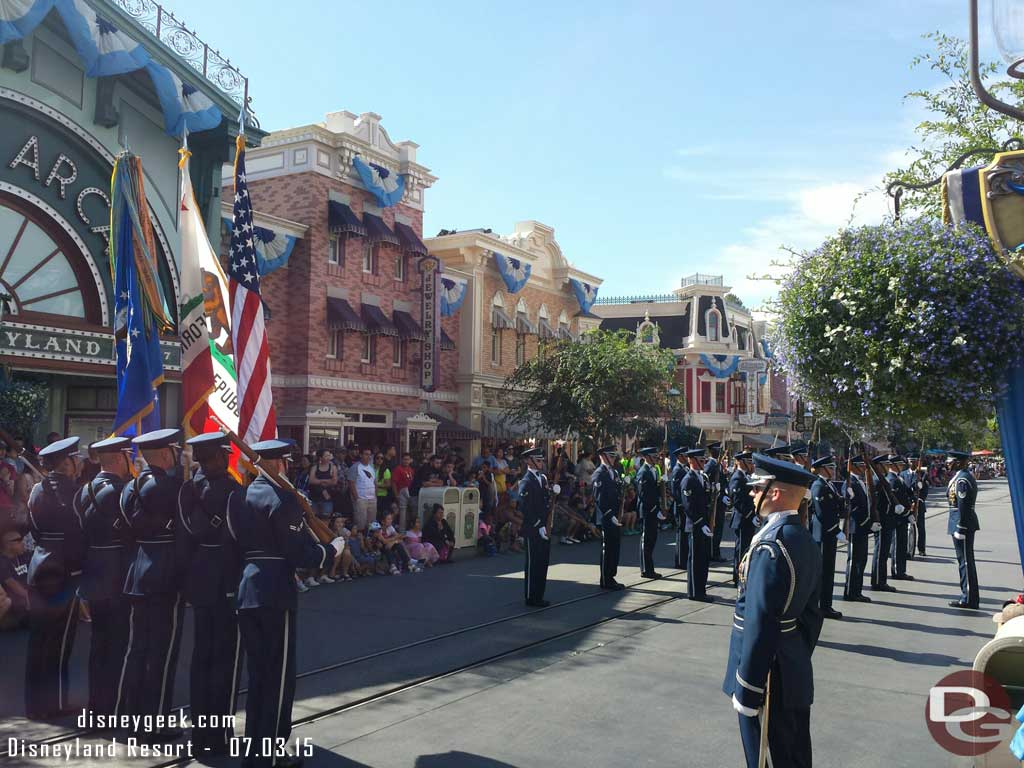 United States Air Force Honor Guard performing on Main Street USA