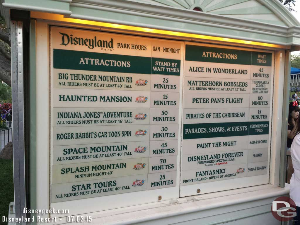 #Disneyland waits as of 7:57pm